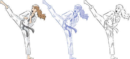 martial arts woman: Stylized drawing of a girl doing a vicious sidekick.