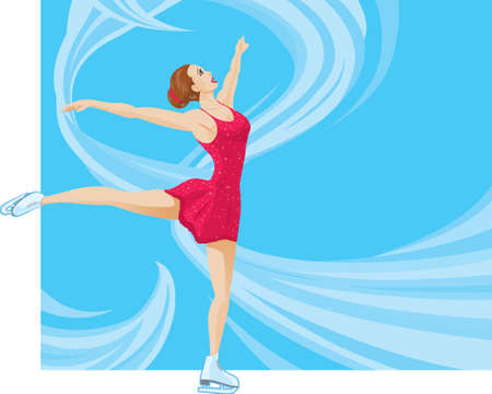 Figure Skater on a flowing background. Vector