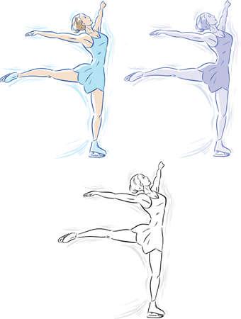 Three different versions of an ice skater  Ilustração