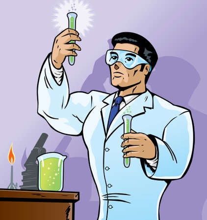 science cartoon: Scientist mixing chemicals in a bold way.