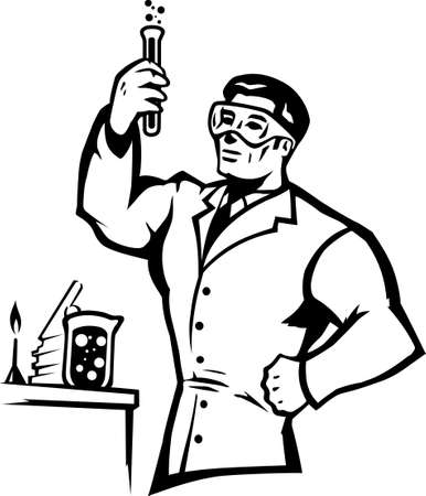 Stylized scientist mixing chemicals in a bold way.