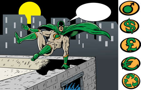 rescuing: Superhero jumping to the rescue. With Vector, hero is on a separate layer, and can be removed.