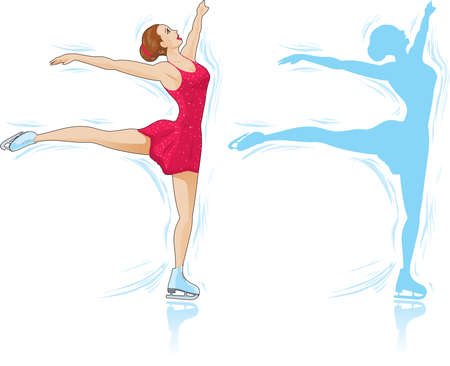 Figure Skater and an outline of a skater. Stock Vector - 8434226