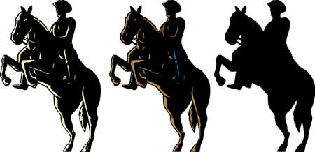 bucking horse: Outline of a cowboy and his horse.