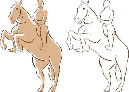 Stylized drawing of a horse and rider  向量圖像