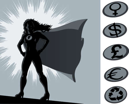 superheroine: Outline of a superheroine standing proudly. Crest can be moved and other logos on the side used instead.