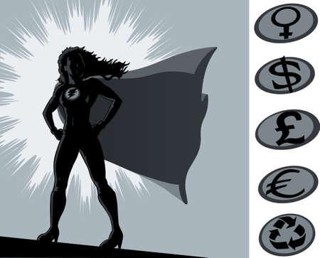 Overzicht van een superheldin die trots staat. Crest kan worden verplaatst en andere logo's aan de zijkant worden gebruikt. Stockfoto - 8466631