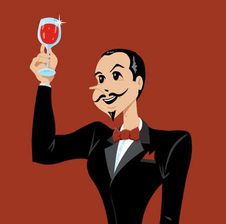 frenchman: Man or waiter appreciating wine