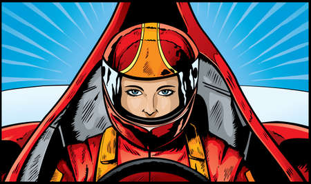 racing wheel: Comic book drawing of an intense Race Car Driver