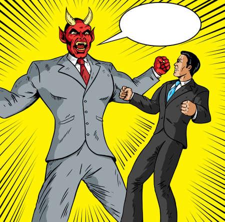 business ethics: Angry Demon battling a good businessman Illustration