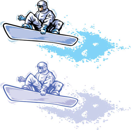Drawing of a stylized snowboarder in two colour schemes.