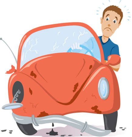 cartoon accident: Time for a new car Illustration