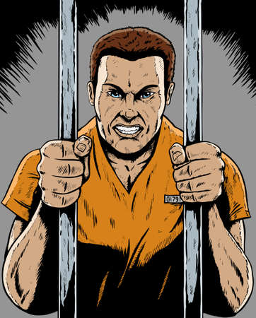 Drawing of a prisoner in a comic book format Illustration