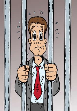 Caricature d'un homme arrêté et assez effrayé