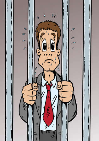 cellule prison: Cartoon of a man arrested and quite scared