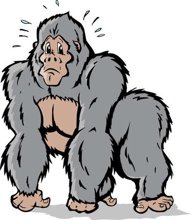 Cartoon of a Gorilla who is scared