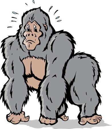 Cartoon van een Gorilla die bang is