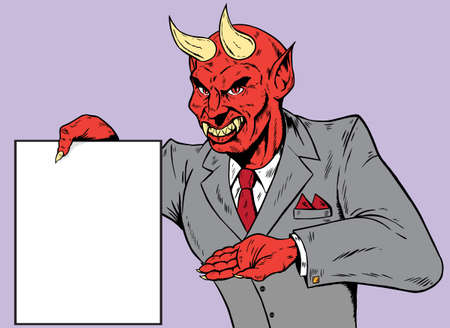 Devil showing the contract for your signature Vector