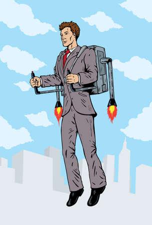 로켓 팩을 함께 비행 사업가