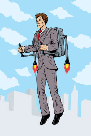 Businessman flying with a rocket pack