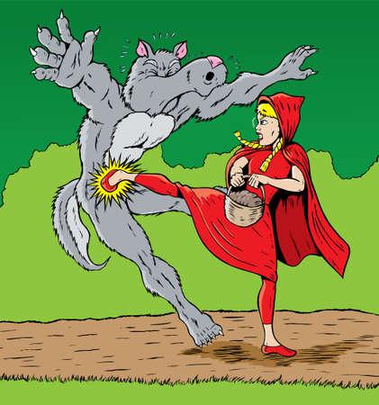 feminismo: Caperucita Roja patear el lobo, bien para la autodefensa.