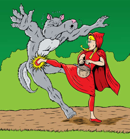 Little Red Riding Hood kicking the wolf, good for self defense.  Vector