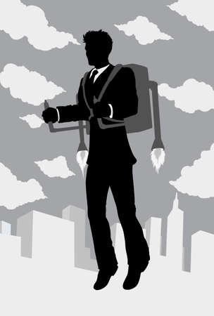 Outline of a businessman flying with a rocket pack