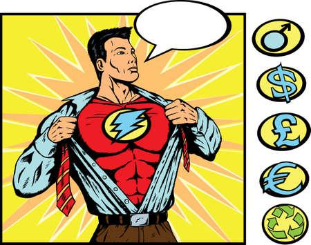 Superhero veranderen. Crest kan worden verwijderd en vervangen door symbolen van de kant.  Stock Illustratie