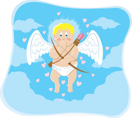 Floating cupid who is extremely embarrassed