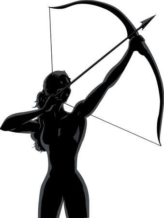 arco y flecha: Archer femenina de contorno