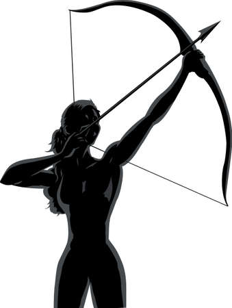 Outline female Archer Vector