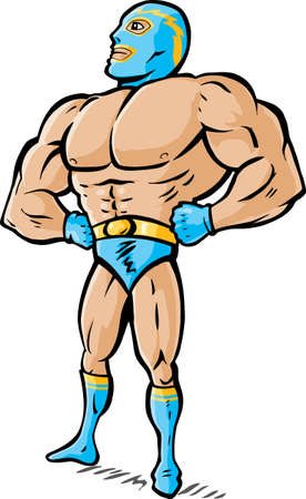 Cartoon drawing of a wrestler looking proud.  Ilustração