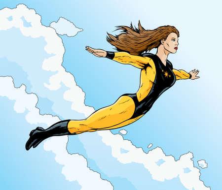 superheroine flight Stock Vector - 8853260
