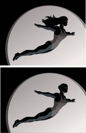 Stylized drawing of a Acrobattrapeze artistgymnast or diver  Ilustração