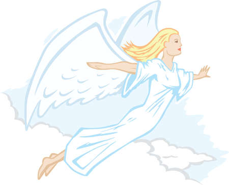 Stylized angel, flying or floating through the clouds.  Çizim