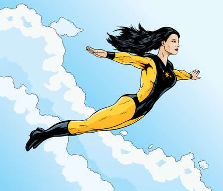 heroine: Asian superhero flying free through the clouds.  Illustration