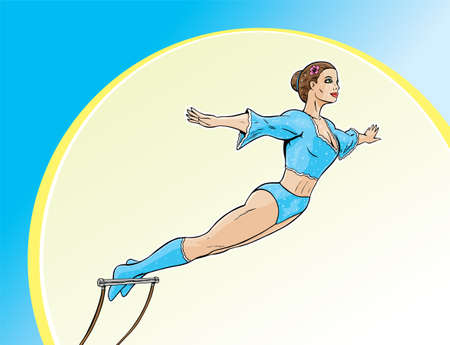 Cartoon illustration of a beautiful Trapeze artist