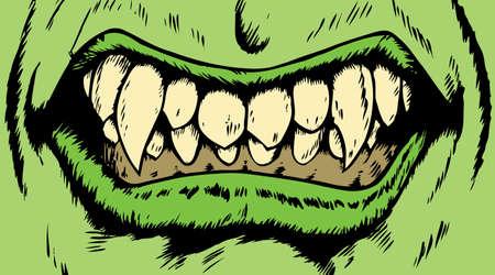 Tekening van een boze monster mond met eng fangs.