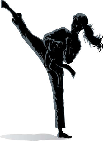 Shadow outline of a girl doing a vicious sidekick. Vector