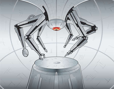 Manufacturing robot. Anything can be put on the platform. Arms are all on separate layers, and can be manipulated. 일러스트