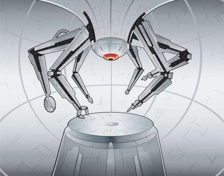 bras robot: Fabrication robot. Quoi que ce soit peut �tre mis sur la plate-forme. Armoiries sont tous en couches distinctes et peuvent �tre manipul�s. Illustration