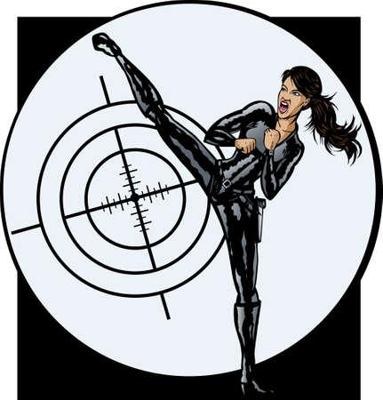 Geheim agent meisje. Stock Illustratie