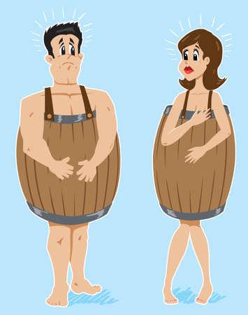 poor people: Poor couple, broke and in barrels.