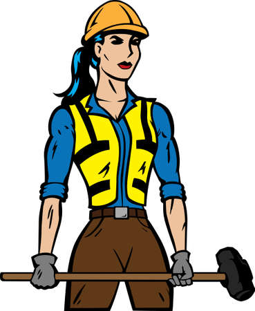 steely: Stylized construction female worker with sledgehammer.