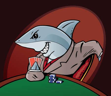 cartoon shark: Card Shark