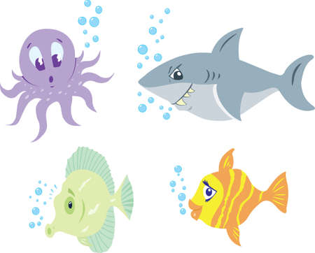 underwater fishes: Four different cartoons of cute, funny fish.