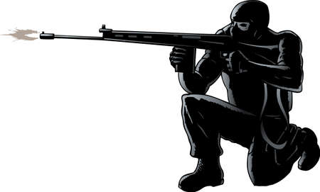 warriors: Crouched soldier firing his rifle Illustration