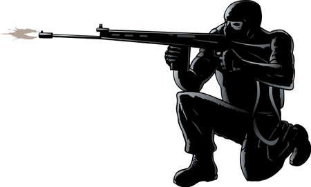 terrorists: Soldato accovacciato sparando il suo fucile Vettoriali