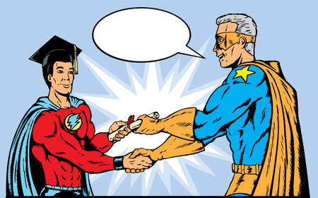 Superhero Graduating. With vector, hat and symbol are on a separate layer and can be easily deleted.