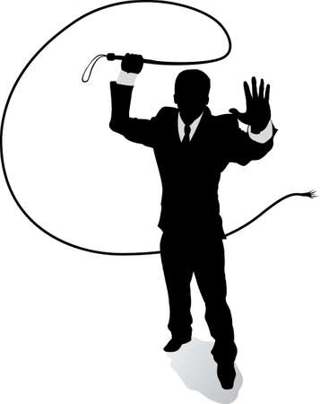 hurting: Outline Business man with whip  Illustration